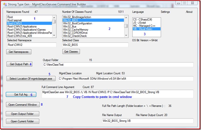 Strong Type Gen – MgmtClassGen exe Command Line Builder | PC's